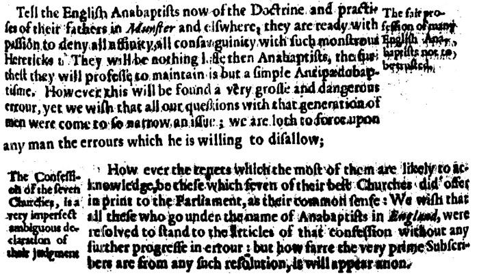 Robert Bailie, Anabaptisme, 47-48