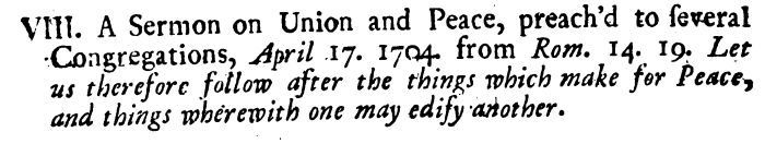 John Piggot, Eleven Sermons, Unity and Truth